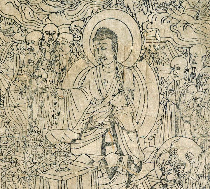Description 1 Detail of the Frontispiece, Diamond Sutra from Cave 17, Dunhuang, ink on paper en:British Library | British Lib