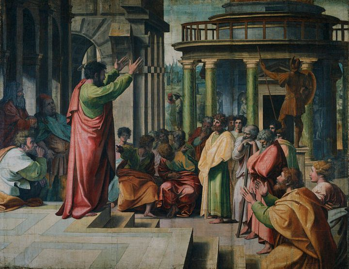 V&A - Raphael, St Paul Preaching in Athens (1515).jpg Description Raphael, St Paul Preaching in Athens | Source Royal Collect