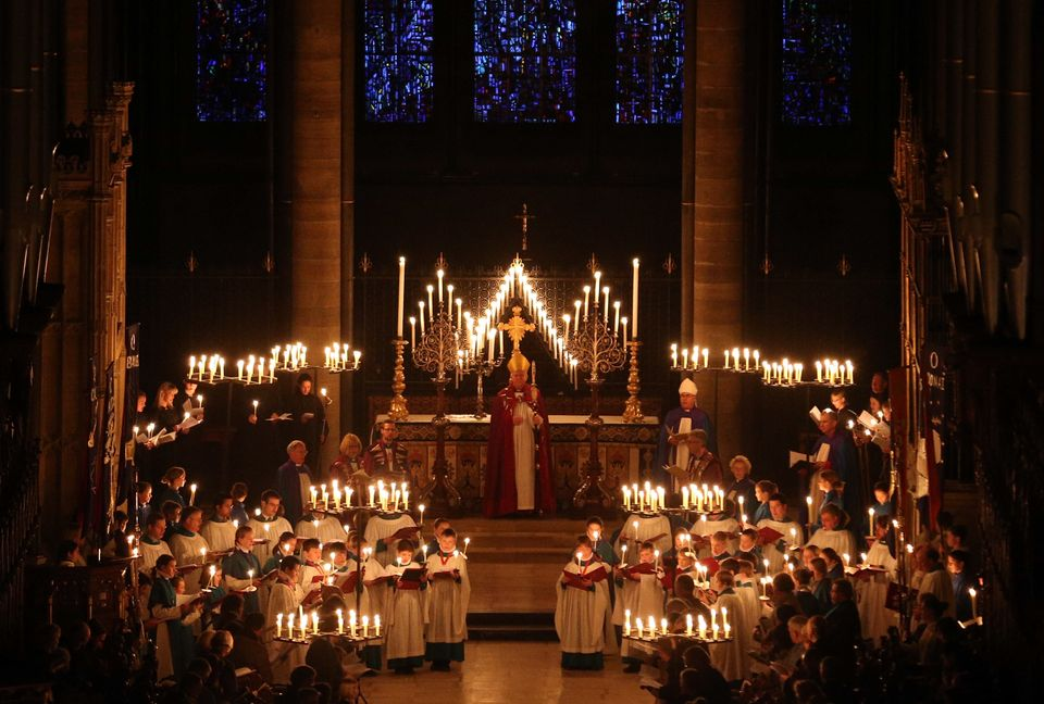 SALISBURY, ENGLAND - DECEMBER 01:  The interior of Salisbury Cathedral is illuminated by candles carried by choristers during