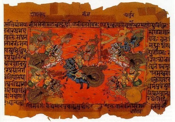 of the Battle of Kurukshetra, fought between the Kauravas and the Pandavas, recorded in the Mahabharata Epic.  Source: http:/