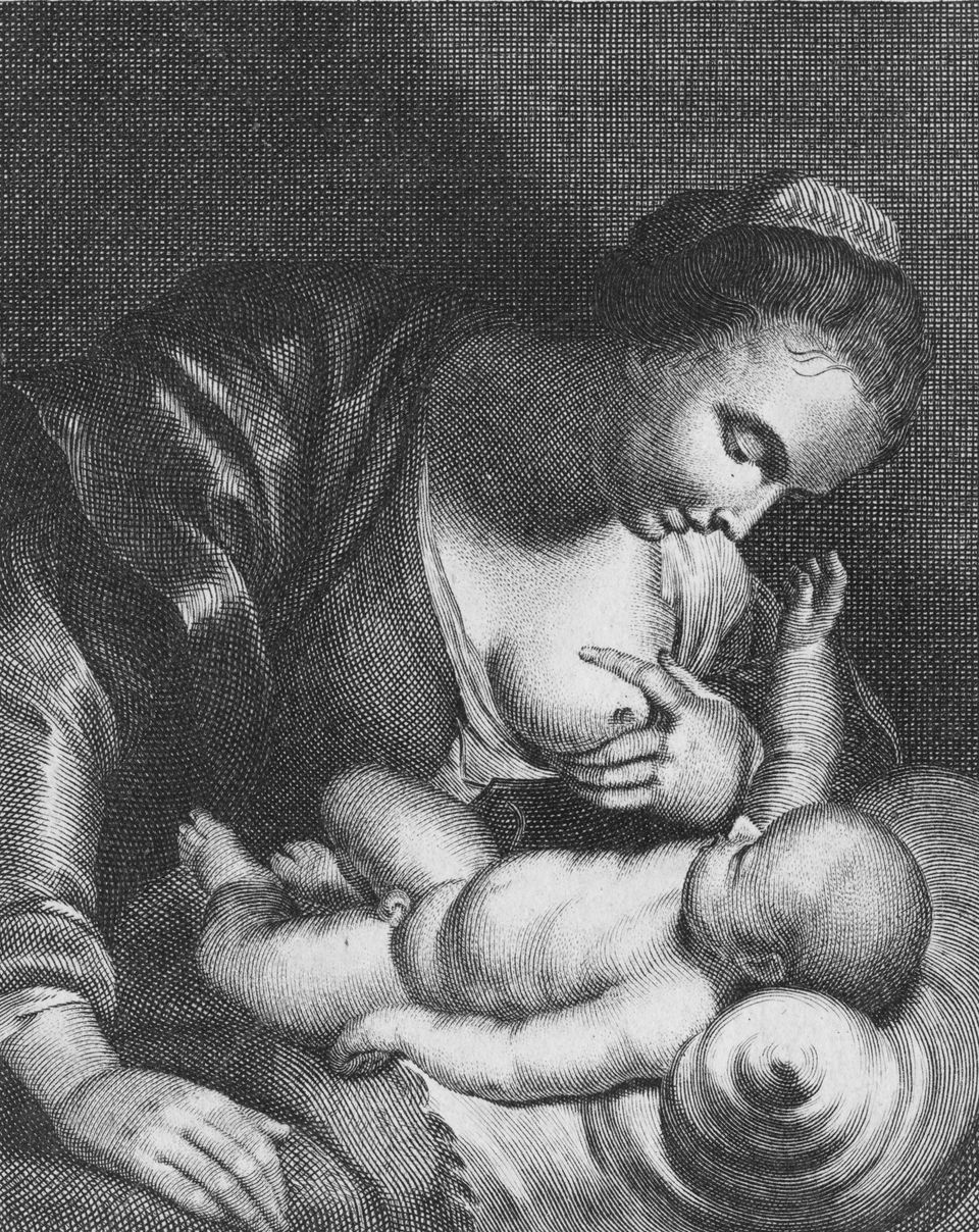 Mary breastfeeding the baby Jesus. Engraving based on the 1614 painting 'Maria Lactans' by Peter Paul Rubens