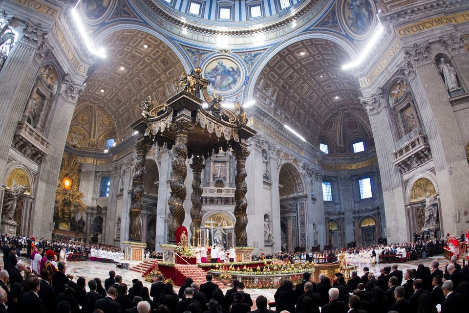 Pope Benedict XVI celebrates a mass in St. Peter's Basilica at the Vatican, Tuesday, Jan. 1, 2013. (AP Photo/Andrew Medichini