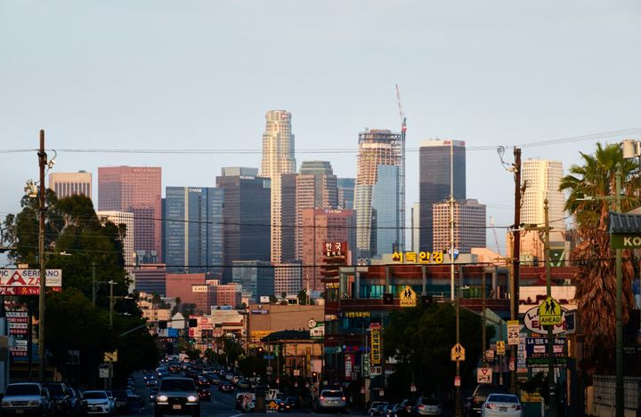 The Los Angeles skyline as seen from Koreatown.