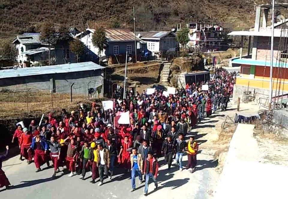A protest rally by more than 1000 monks on the DC ofice road in Tawang on December 24  Credit: Urmi Bhattacharjee