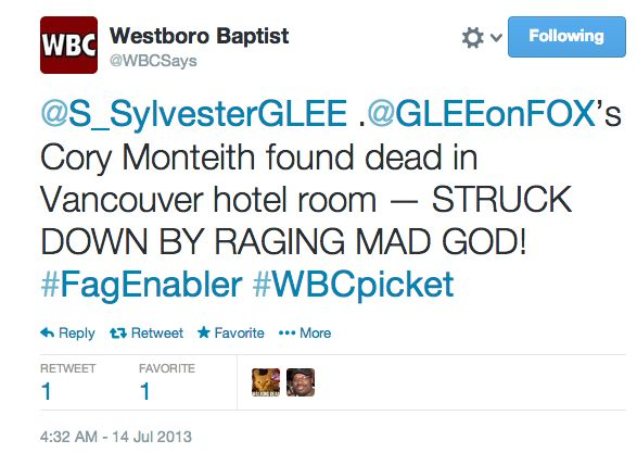 "The Westboro Baptist Church announced on Twitter Sunday morning that they will be picketing ""Glee"" star Cory Monteith's funer"