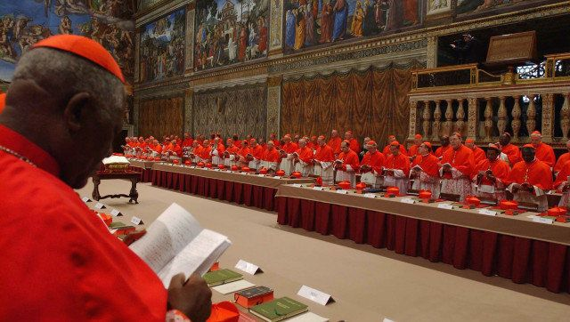 VATICAN CITY - APRIL 18: Cardinals of the Catholic Church attend the election conclave in the Sistine Chapel on April 18, 200