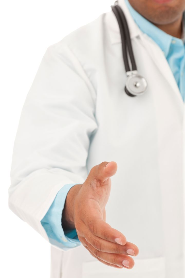 Male Doctor Extends Hand