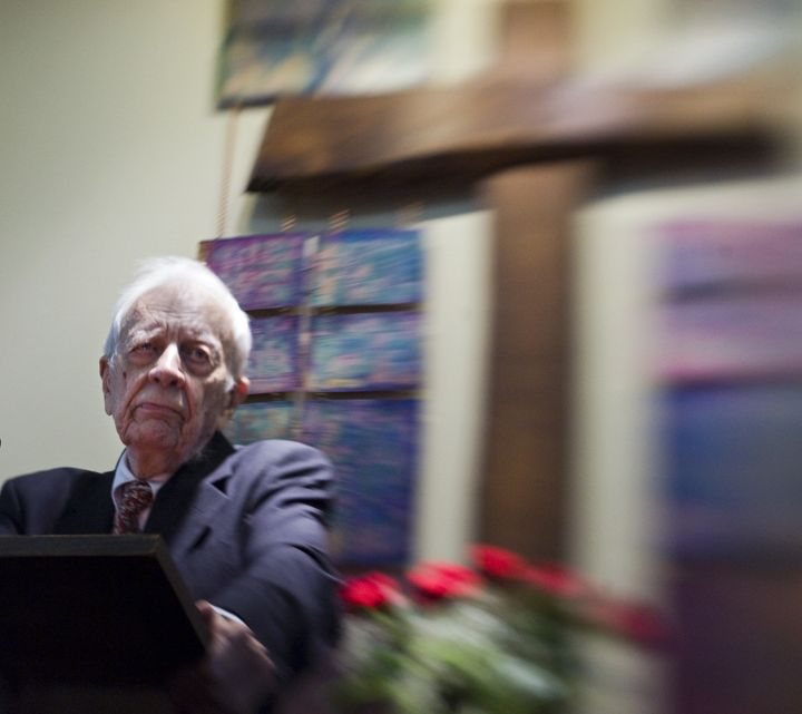 UNITED STATES - DECEMBER 28:  Gordon Cosby, founder, during his final sermon at the Church of the Saviour Sunday afternoon in