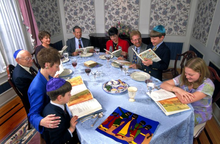 Extended Jewish family celebrates Passover