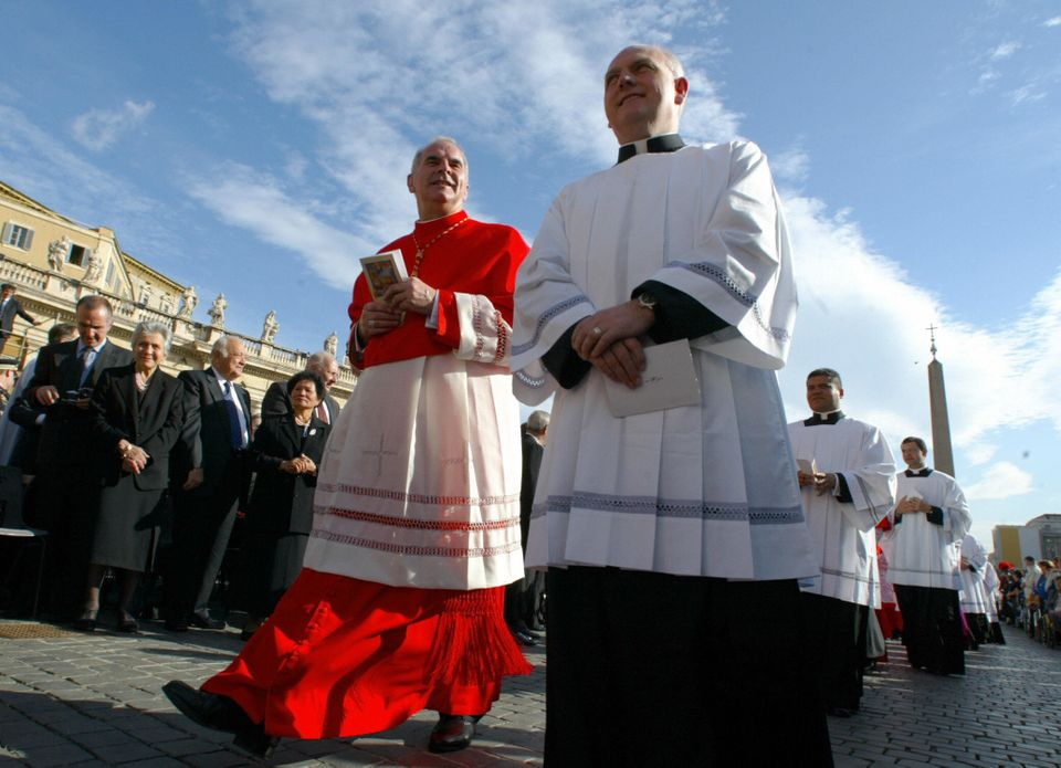 VATICAN CITY, Vatican:  Newly appointed cardinal Keith Michael Patrick O'Brien (L) of Scotland arrives for the ordination cer
