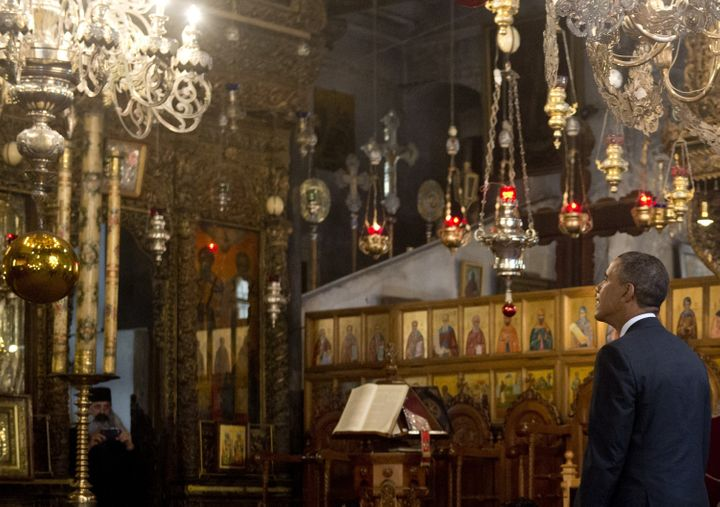 US President Barack Obama tours the Church of the Nativity, built on the site where tradition says Jesus was born, in the Wes