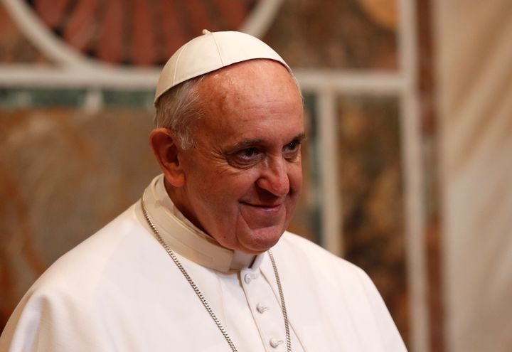 Pope Francis looks on during an audience with the diplomatic corps at the Vatican on March 22, 2013. Pope Francis called for