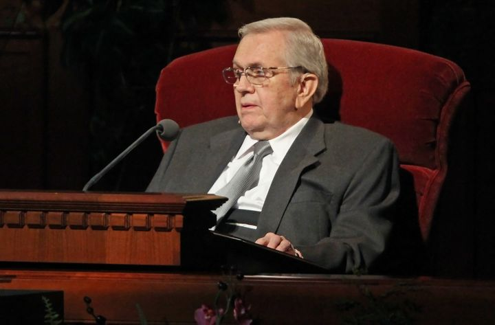 SALT LAKE CITY -  APRIL 3: Boyd Packer, President of the Mormon Quorum of the Twelve Apostles speaks in the opening session a