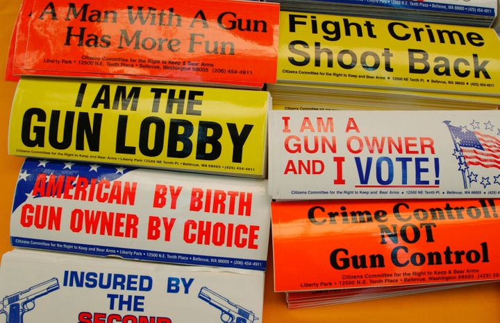 PITTSBURGH, PA - APRIL 15:  Bumper stickers hang for sale at the Second Amendment Foundation booth before the 133rd Annual NR