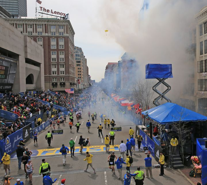 BOSTON - APRIL 15: Two explosions went off near the finish line of the 117th Boston Marathon on April 15, 2013. (Photo by Dav
