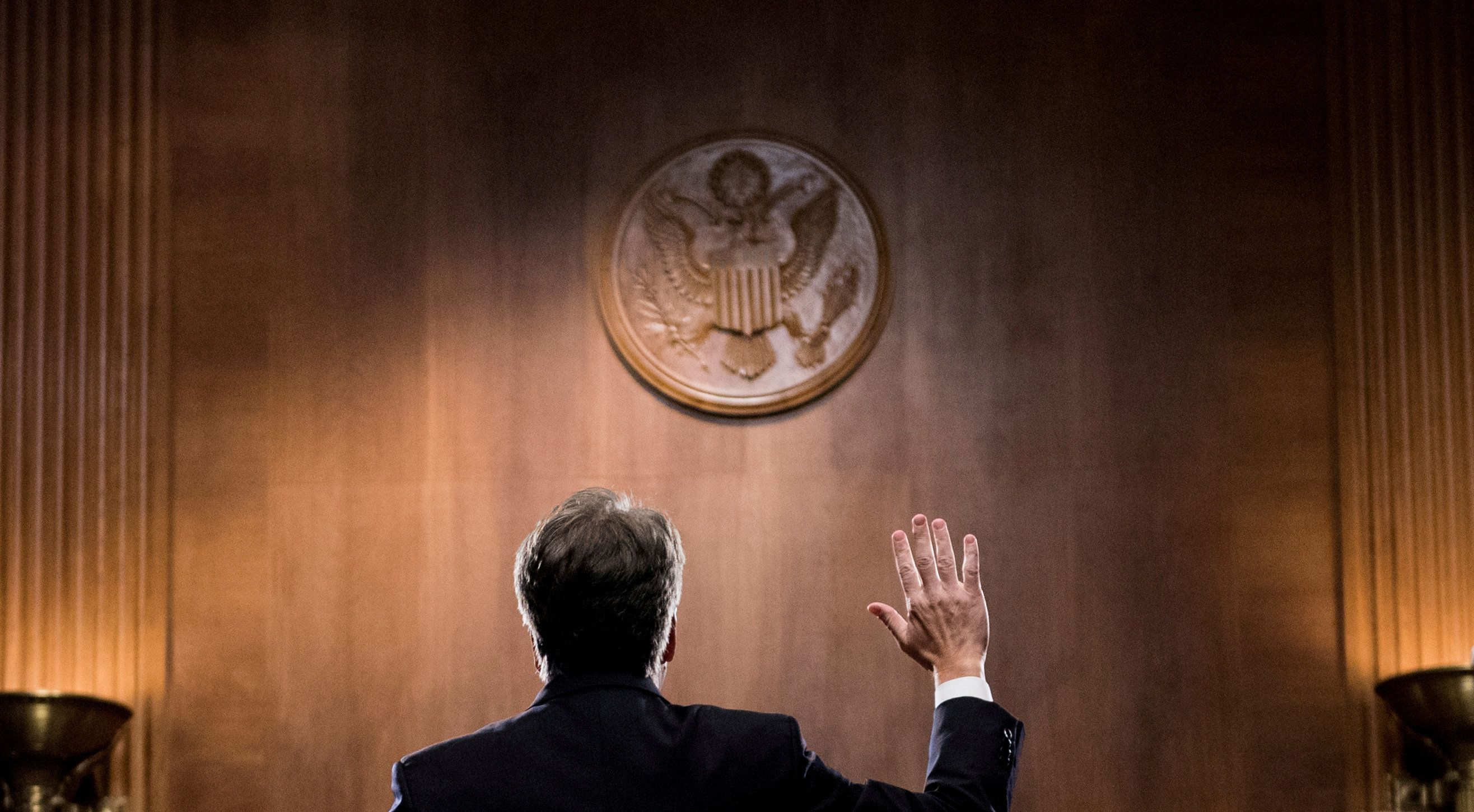 Judge Brett Kavanaugh is sworn in before testifying before the U.S. Senate Judiciary Committee on Capitol Hill in Washington, U.S., September 27, 2018. Tom Williams/Pool via REUTERS      TPX IMAGES OF THE DAY