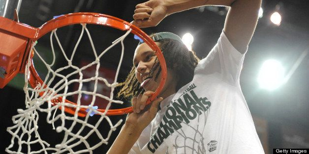 Baylor Bears center Brittney Griner cuts down the nets after defeating Notre Dame 80-61 in NCAA Women's 2012 National Champio