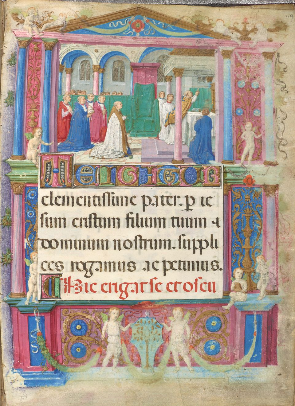"""Elevation of the Eucharist, from the """"Della Rovere Missal,"""" Rome use, in Latin  Italy, Rome, ca. 1485–90 Illuminated by the M"""