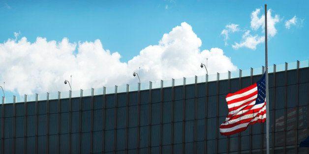 American Flag at Half-mast at USA-Canada Border Crossing, Niagara Falls, New York, USA