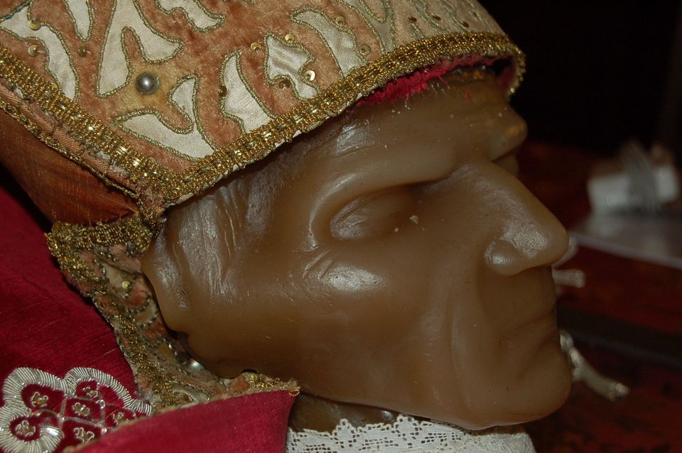 Celestine V's remains in the Basilica of Santa Maria di Collemaggio in L'Aquila, Italy. The face is covered with the old wax