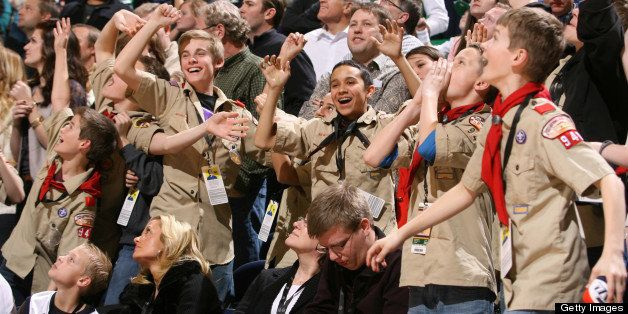 SALT LAKE CITY, UT - FEBRUARY 16:  Young fans of the Utah Jazz from the the Boy Scouts cheer for their team in the game again