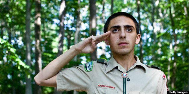 Man in a Boy Scout uniform.