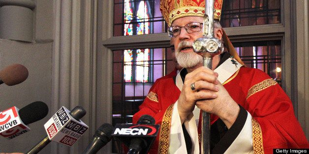 BOSTON - MARCH 24: Cardinal Sean O'Malley speaks to the media, after Mass on Palm Sunday in the Cathedral of the Holy Cross,