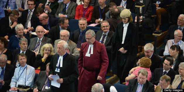 EDINBURGH, SCOTLAND - MAY 20:  Commissioners of the Church of Scotland sit in the chamber during the debate on the issue of g