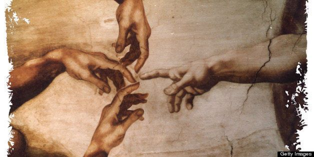 USA - 1997: Hiram Henriquez color illustration of hand of God reaching to touch three human hands. Can be used with stories a