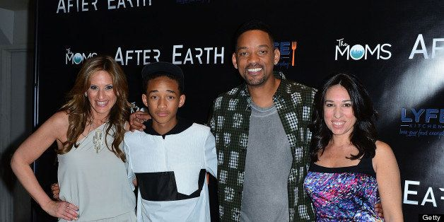 NEW YORK, NY - MAY 30:  The MOMS Denise Albert, Jaden Smith, Will Smith and The MOMS Melissa Musen Gerstein attend a screenin