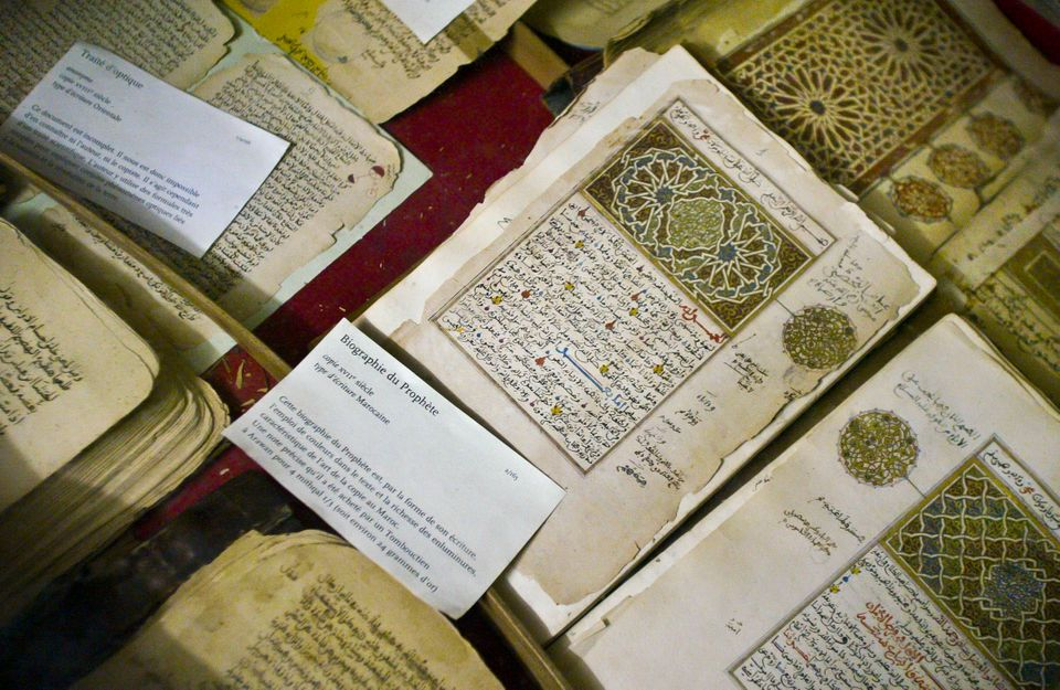 In this photo taken Tuesday, Mar. 16, 2004, some of the 20,000 preserved ancient Islamic manuscripts which rest in air-condit