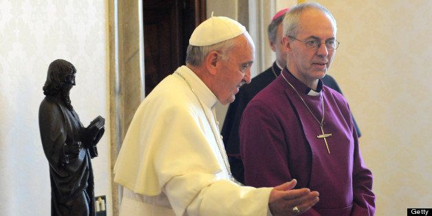 VATICAN CITY, VATICAN - JUNE 14:  Pope Francis meets Archbishop of Canterbury Justin Welby at his private library on June 14,