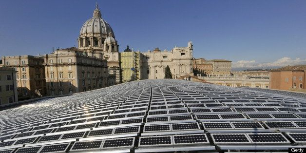 This picture taken on November 26, 2008 at the Vatican shows the solar panels covering the roof of the Paul VI audience hall