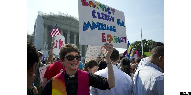 UNITED STATES - June 26 : Gay and lesbian activist protest in front of the U.S. Supreme Court building on June 26, 2013 in Wa