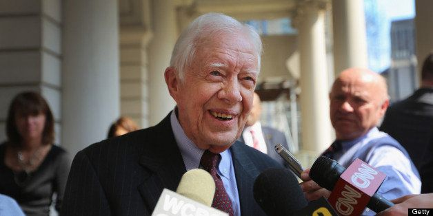 NEW YORK, NY - APRIL 10:  Former U.S. President Jimmy Carter speaks to the media at City Hall after meeting with New York May