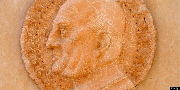 Annunciation basilica sculpture depicting Pope John XXIII (Photo by: Godong/Universal Images Group via Getty Images)