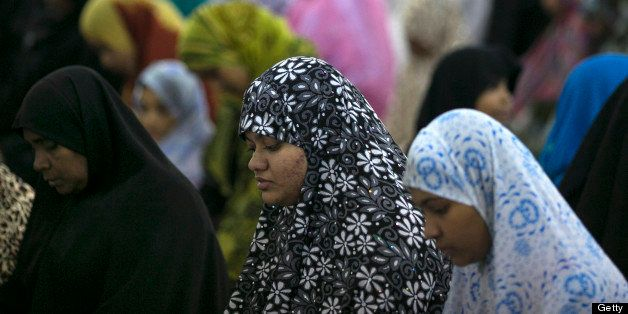 COLOMBO, SRI LANKA  - JULY 10:  Muslim women and children attend a special evening Ramadan prayer at  the Juma Masjid July 10