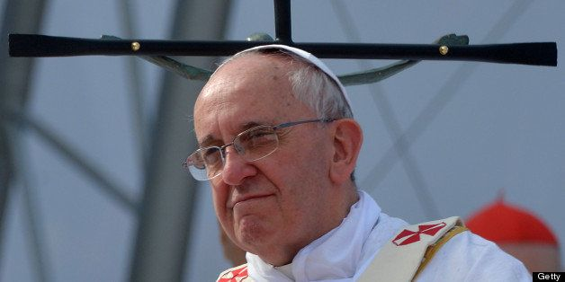 Pope Francis celebrates the last mass of his visit to Brazil, at Copacabana beach in Rio de Janeiro, on July 28, 2013. Throng
