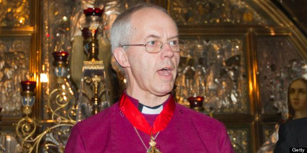Britain's Archbishop of Canterbury Justin Welby speaks during his visit to the Church of the Holy Sepulchre, traditionally believed to be the burial site of Jesus Christ, in Jerusalem's Old City, on June 28, 2013. Welby is on his first trip to the Holy Land since taking office in March but had visited the region before becoming the leader of the world's 80 million Anglicans, his office said. AFP PHOTO / AHMAD GHARABLI (Photo credit should read AHMAD GHARABLI/AFP/Getty Images)