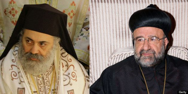 (FILES) -- A combo of file pictures shows Syrian Bishop Boulos Yaziji (L), head of the Greek Orthodox church in Aleppo, taken