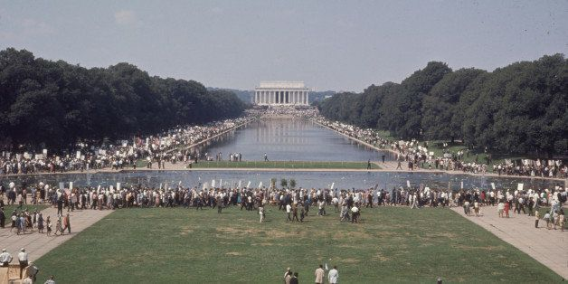 Elevated view of participants surrounding the Lincoln Memorial Reflecting Pool during the March on Washington for Jobs and Fr
