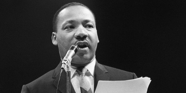 PARIS, FRANCE:  The US clergyman and civil rights leader Martin Luther King addresses, 29 March 1966 in Paris' Sport Palace t
