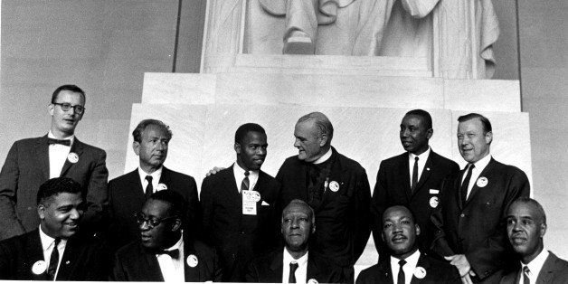 Civil Rights leaders pose in the Lincoln Memorial during the March on Washington for Jobs and Freedom, Washington DC, August