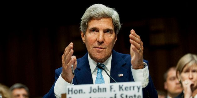 John Kerry, U.S. secretary of state, testifies at a Senate Foreign Relations Committee hearing on Syria in Washington, D.C., U.S., on Tuesday, Sept. 3, 2013. Kerry told lawmakers that President Obama 'has no intention' of putting American troops on the ground in Syria. Photographer: Pete Marovich/Bloomberg via Getty Images