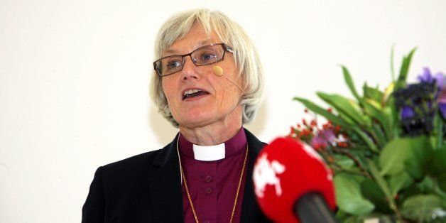 Bishop of Lund Antje Jackelen gives a speech at the Cathedral Forum in Lund in southern Sweden on October 15, 2013, after bee