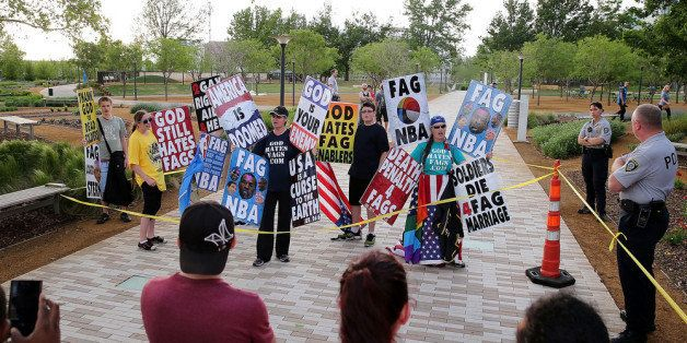 OKLAHOMA CITY, OK - MAY 01:  Members of the Westboro Baptist Church protest outside of the Chesapeake Energy Arena before Gam