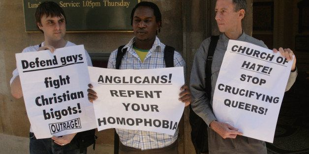 LONDON - JULY 01:  Gay right's campaigner Peter Tatchell (R) joined by Kizza Musinguzi (C), a gay rights activist, and Brett