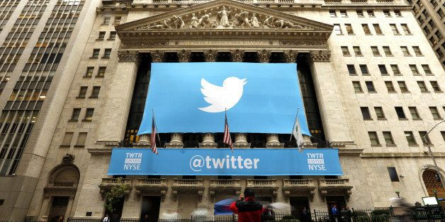 NEW YORK, UNITED STATES - NOVEMBER 7: Twitter shares have closed at $44.90 a share on its first day of trading, 73 percent ab