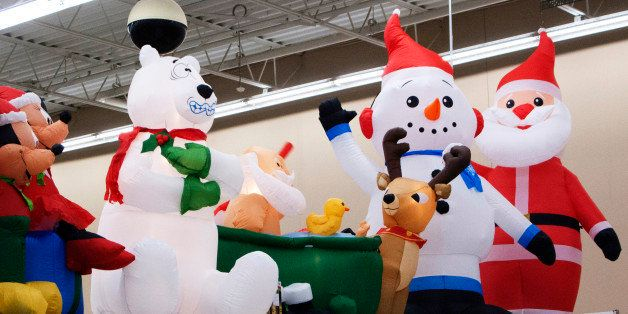 Christmas decorations are displayed at a Walmart store on November 17, 2012 in Norwalk, Connecticutt. Black Friday shoppers w