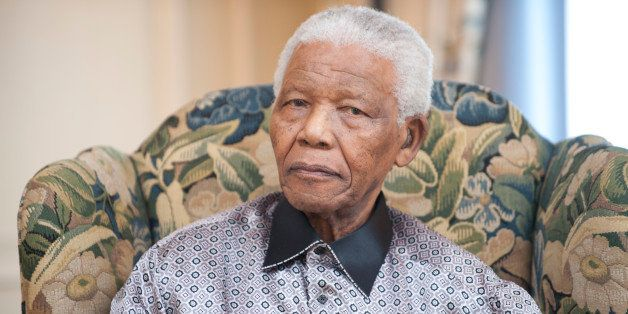 Former President of South-Africa Nelson Mandela at a photoshoot for his 90th birthday at the InterContinental hotel, London,